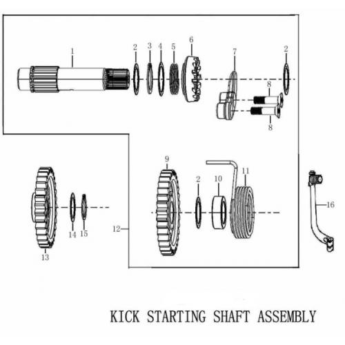 FSE 250R KICK STARTING SHAFT ASSEMBLY